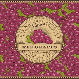 Vintage rode druiven label op naadloze patroon