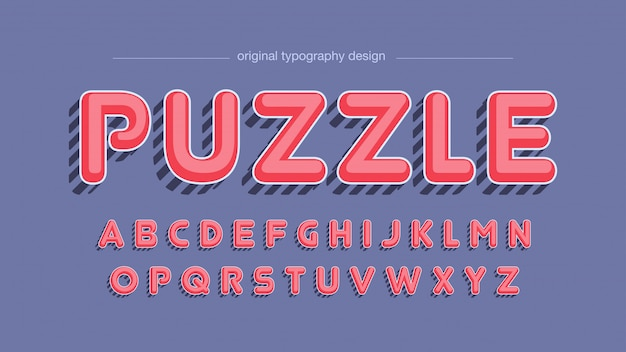 Vintage rode gestreepte schaduw typografie