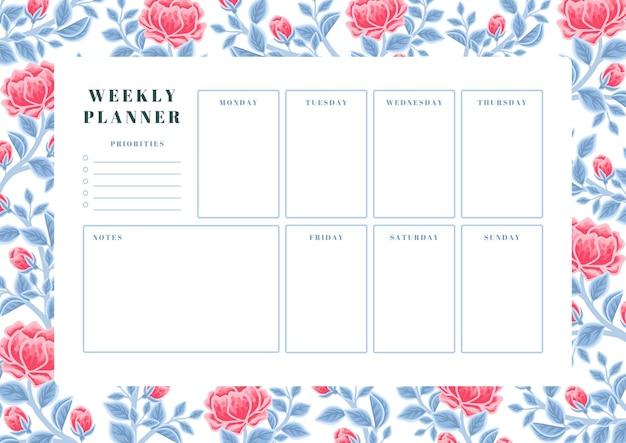 Vintage rode pioenbloem en blauw blad wekelijkse plannersjabloon