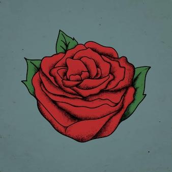 Vintage rode roos old school flash tattoo ontwerp symbool