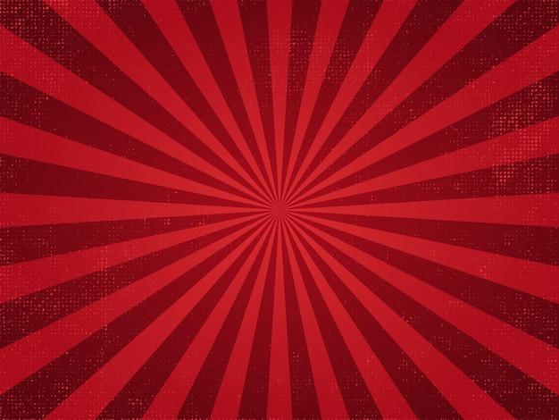 Vintage rode straal grunge retro burst achtergrond