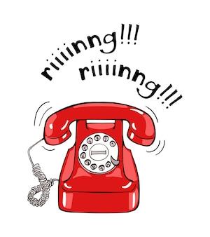 Vintage rode telefoon hand getrokken illustratie. schetsstijl
