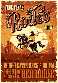 Vintage rodeo reclame poster sjabloon