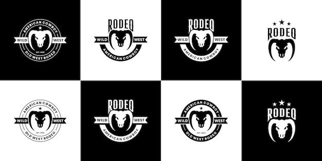 Vintage rodeo texas logo ontwerp wilde westen met lange hoorn