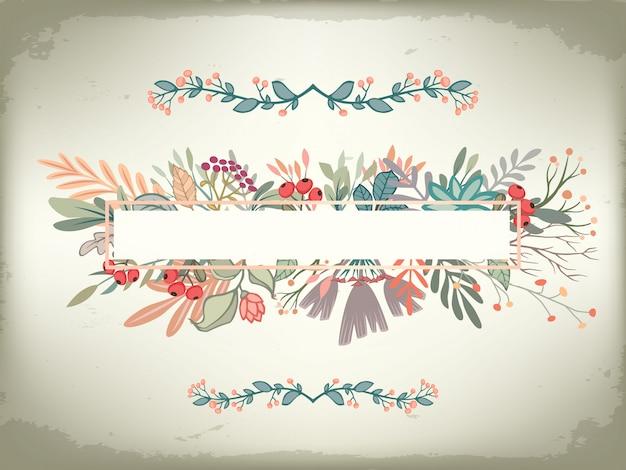 Vintage romantische horizontale kaart met florale frame en versieringen. bruiloft vector terug