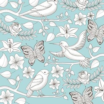 Vintage romantische patroon vogels bloemen vlinders pictogram