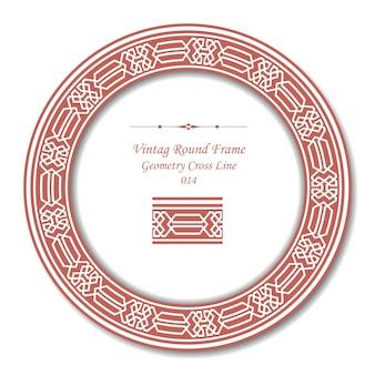 Vintage ronde frame van retro roze geometrie cross line
