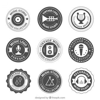 Vintage ronde logo's set van muziekstudio