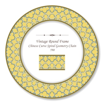 Vintage ronde retro frame chinese kromme spiraal geometrie ketting