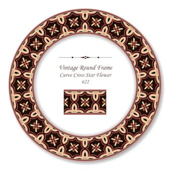 Vintage ronde retro frame kromme cross ster bloem, antieke stijl