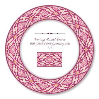 Vintage ronde retro frame roze steek check geometrie lijn, antieke stijl