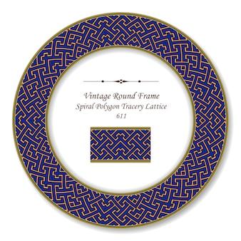 Vintage ronde retro frame spiraalvormige geometrie veelhoek kruis maaswerk lattice, antieke stijl