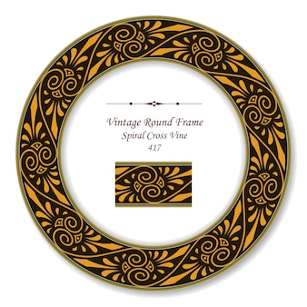 Vintage ronde retro frame van aboriginal spiral cross vine