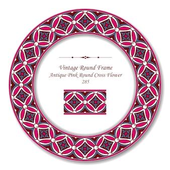 Vintage ronde retro frame van antieke roze ronde cross flower