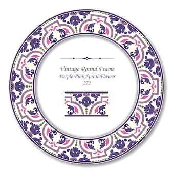 Vintage ronde retro frame van botanische paars roze spiraal bloem