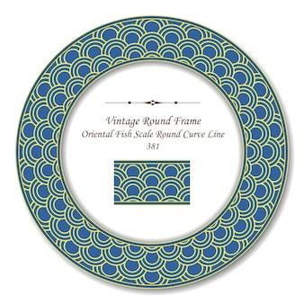 Vintage ronde retro frame van oosterse visschaal ronde kromme lijn