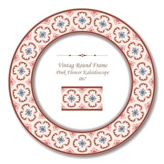 Vintage ronde retro frame van roze bloem caleidoscoop