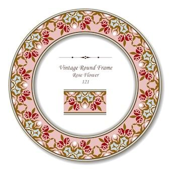 Vintage ronde retro frame van roze roze bloem