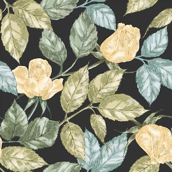 Vintage roos naadloos patroon