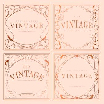 Vintage rose goud art nouveau badge vector set