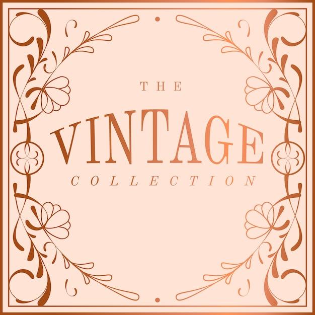 Vintage rose goud art nouveau badge vector
