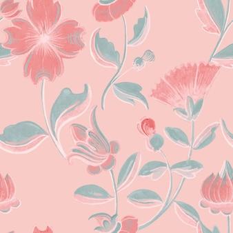 Vintage roze bloemmotief achtergrond, remix van kunstwerken in het publieke domein
