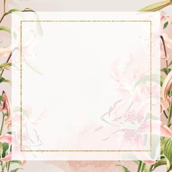 Vintage roze lelies vector frame illustratie, remix van kunstwerken van l. prang & co.
