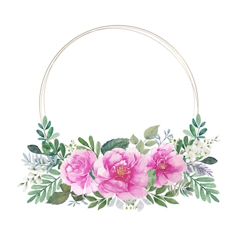 Vintage roze rozen boeket aquarel met ronde gouden cirkel draadframes