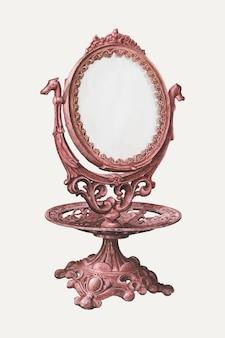 Vintage roze spiegel vectorillustratie, geremixt van het kunstwerk van samuel o. klein