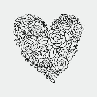 Vintage rozen in de vorm van een hart