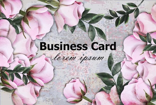 Vintage rozen visitekaartje