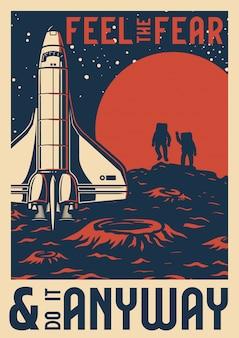 Vintage ruimteonderzoeksjabloon