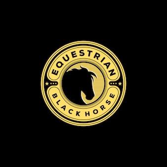 Vintage ruiter zwart paard logo