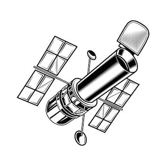 Vintage satelliet voor onderzoek vectorillustratie. monochrome sticker met kunstmatige satelliet.