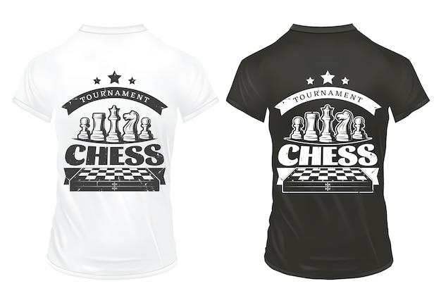 Vintage schaakafdrukken op shirts sjabloon