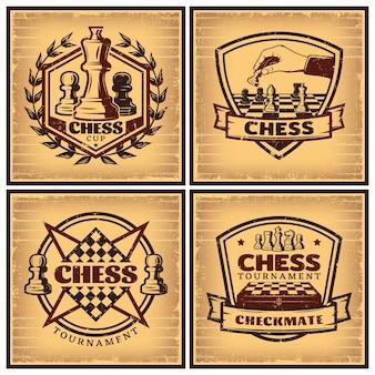 Vintage schaaktoernooi posters