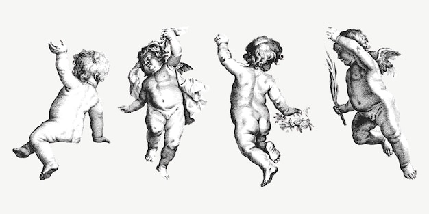 Vintage schattige cherubijn set