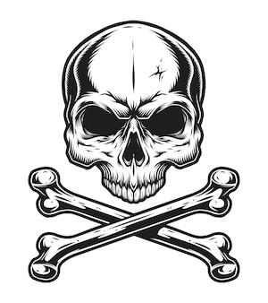 Vintage schedel en gekruiste beenderen zwart-wit sjabloon