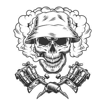 Vintage schedel in panama hoed