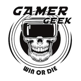 Vintage schedel in virtual reality bril vectorillustratie. zwart dood hoofd van gamer in vr