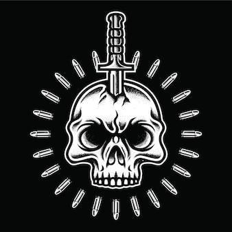 Vintage schedel met dolk en kogel in zwart-wit stijl geïsoleerde illustratie, ontwerpelement