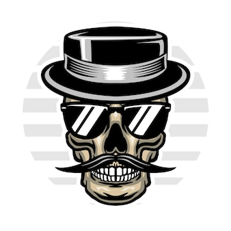 Vintage schedel met hoed en zonnebril