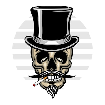 Vintage schedel met hoed