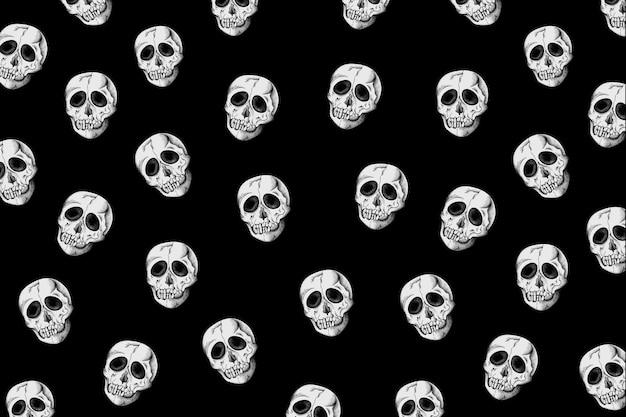 Vintage schedel patroon zwarte achtergrond