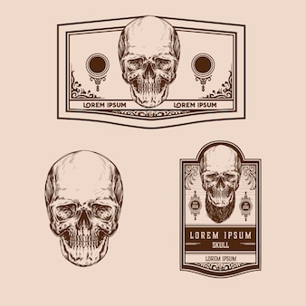 Vintage schedel premium vector set