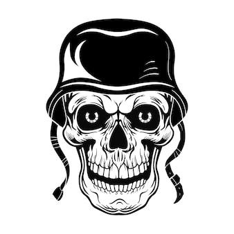 Vintage schedel van soldaat vectorillustratie. monochroom dood hoofd in krijgerspet