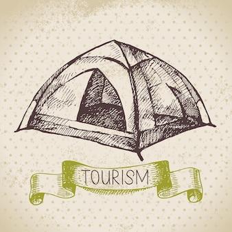 Vintage schets toerisme achtergrond. wandelen en kamperen met de hand getekende illustratie
