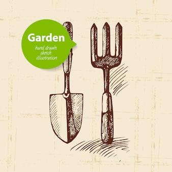 Vintage schets tuin achtergrond. handgetekend ontwerp