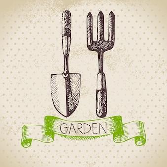 Vintage schets tuinieren achtergrond. handgetekend ontwerp