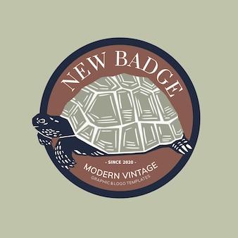 Vintage schildpad badge linosnede bewerkbare sjabloon